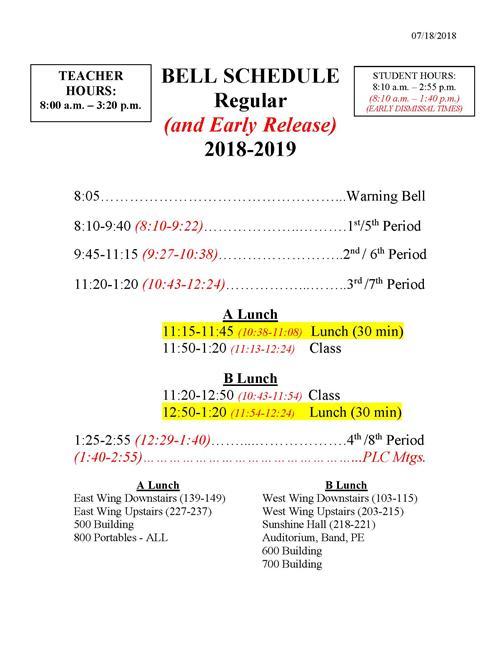 Procedures / Bell Schedules and School Hours