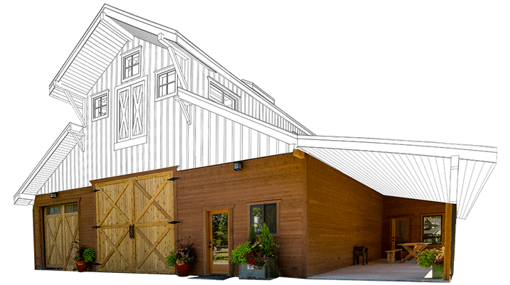 Standard Garage Door Sizes Powell Barn Kit - Monitor Horse Barn Kit - Dc Structures