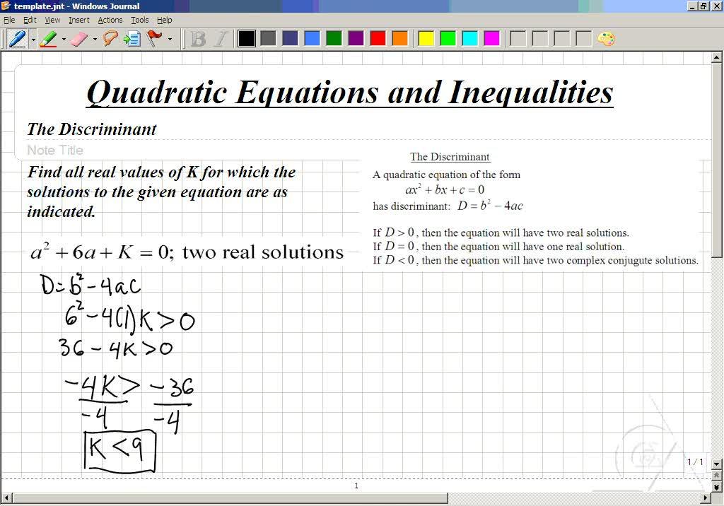 Classroom Intermediate Algebra Finding Values in the Discriminant
