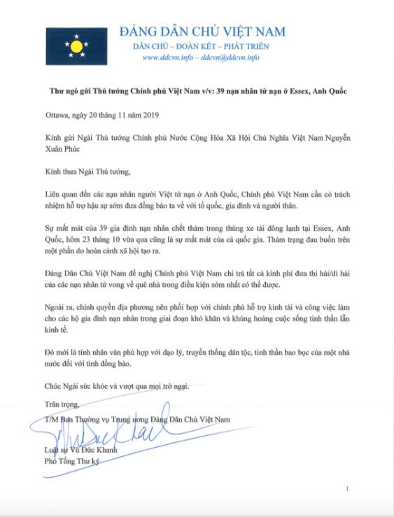 DPV Open Letter to PM Nguyễn Xuân Phúc 39 nan nhan o UK2
