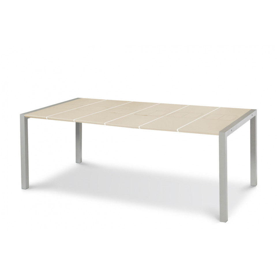 Table Metal Blanc Sunday Gartentische 190 Cm Weiße Dichtungen Aperitif Tablett