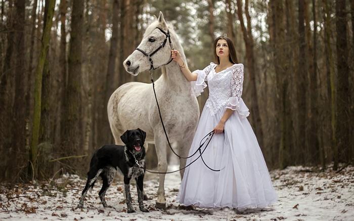 Cute Puppies Wallpaper 1080p Retro Stil Wei 223 Es Kleid M 228 Dchen Pferd Hund Wald Hd