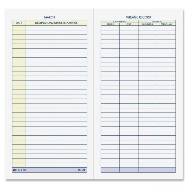 Adams Vehicle Mileage Log - ABFAFR10 OfficeSupply