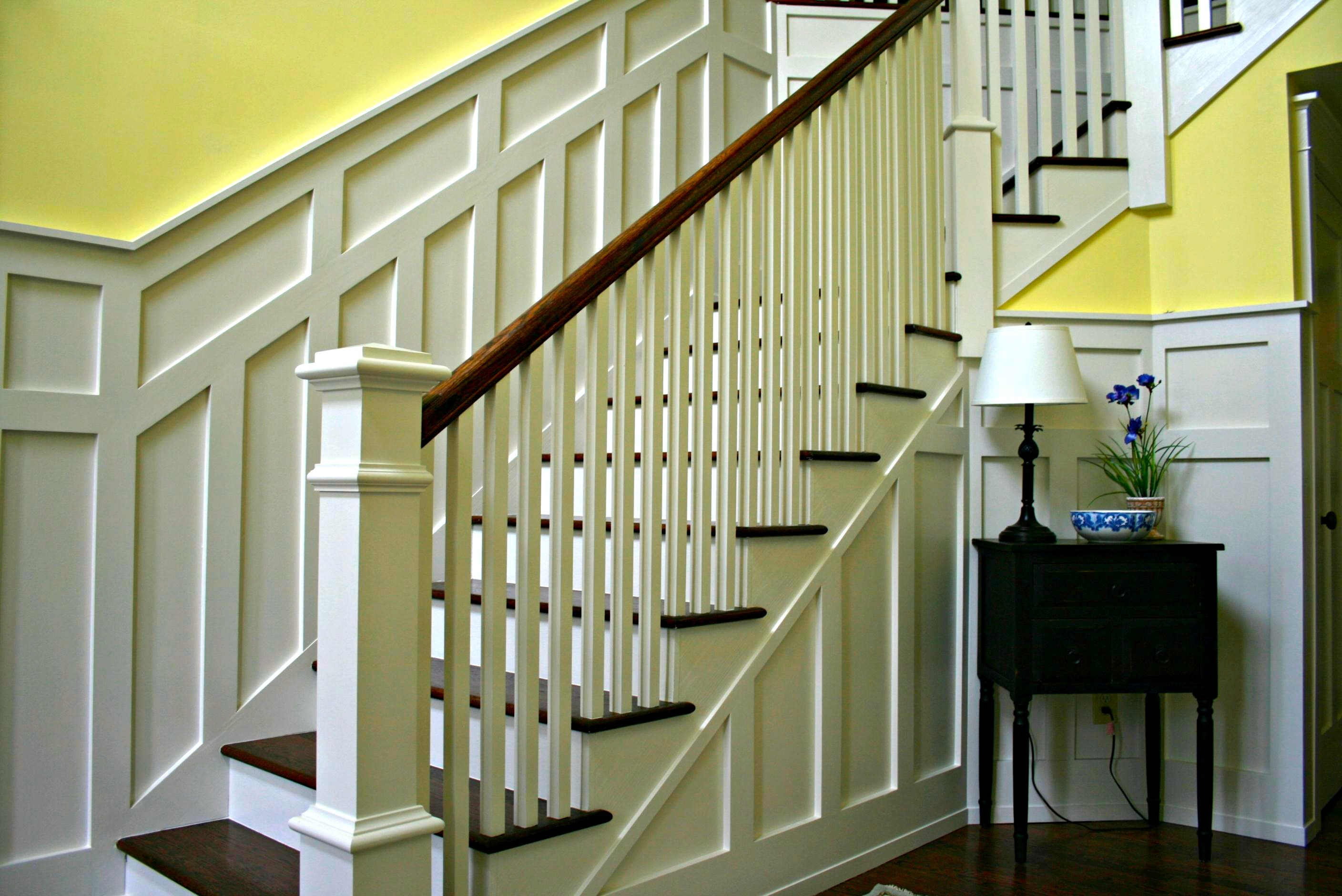 Paneled Staircase Wainscoting Installation By Deacon Home Enhancement