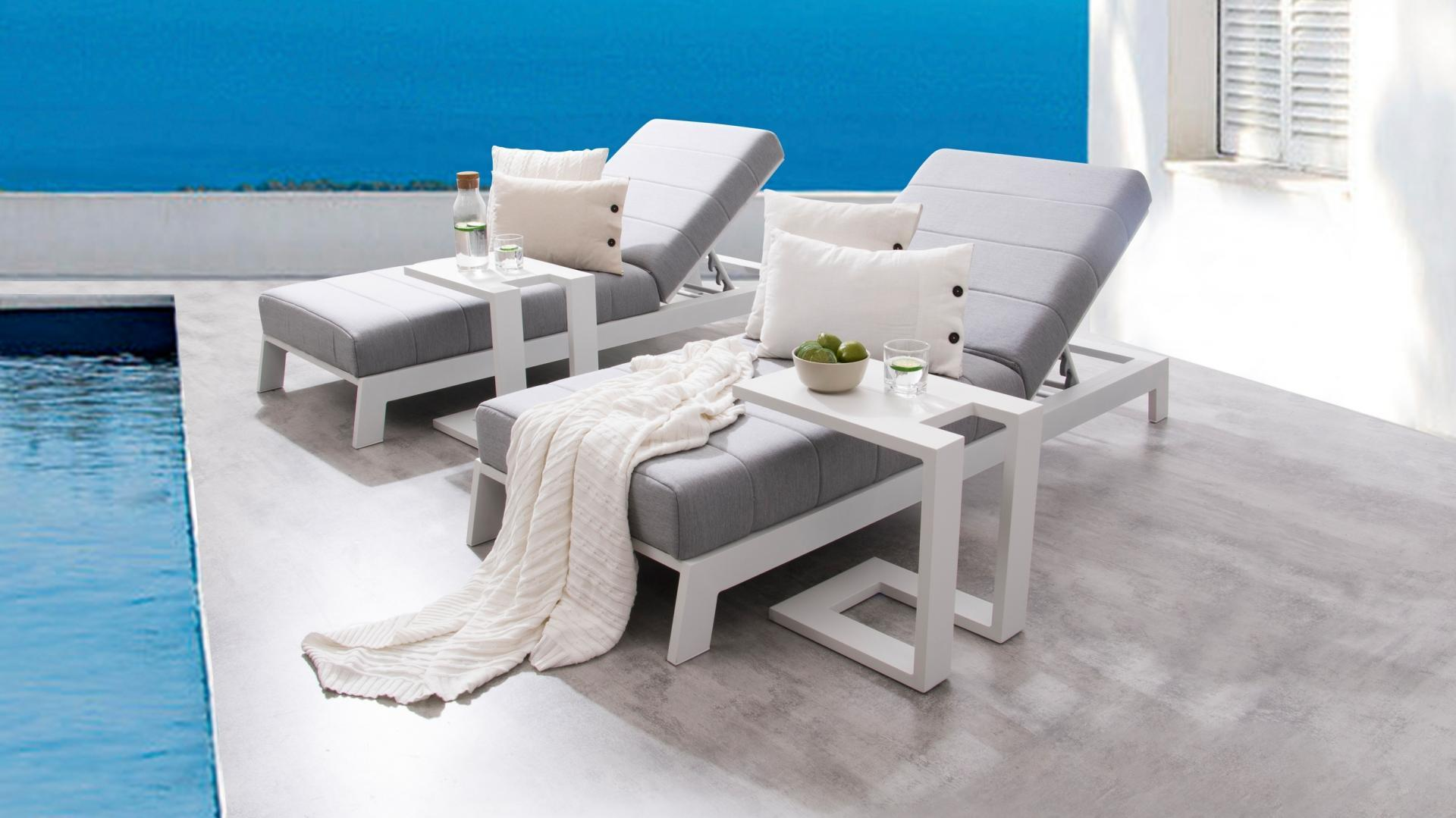 White Sun Lounge Noosa White Outdoor Fabric Sun Lounge Set With Side Tables