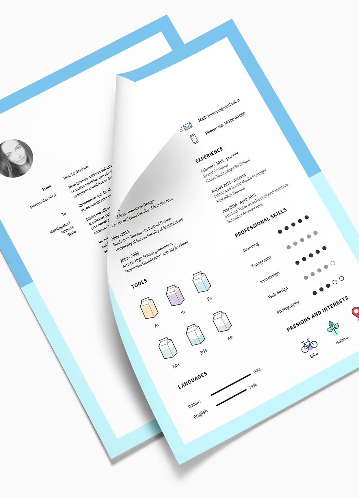 free cv template indesign commercial