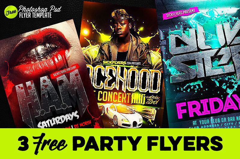 3 Free Party Flyer Templates - Dealjumbo \u2014 Discounted design