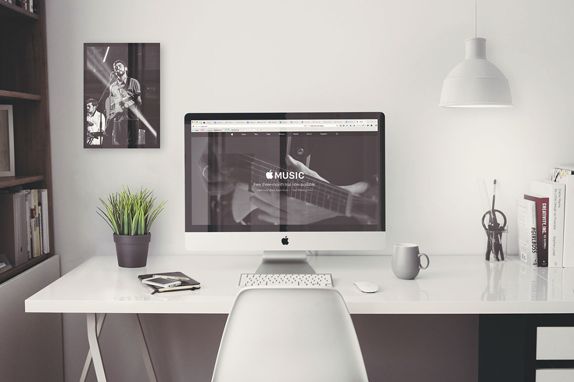 Stock Image Template Imac Office Mockup Free Psd Dealjumbo — Discounted