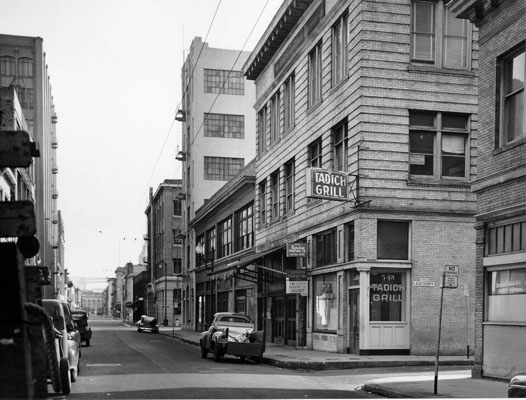 Tadich Grill, 545 Clay St., 1957 - photo by San Francisco Public Library Historical Photograph Collection