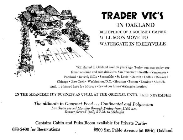 Trader Vic's newspaper advertisement, 1972
