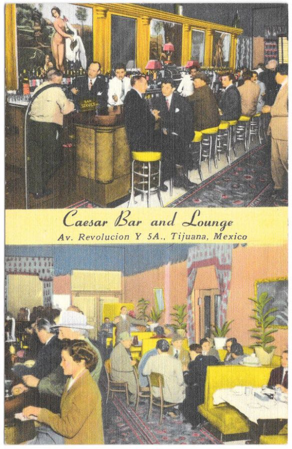 Old postcard of Caesar's Bar and Lounge