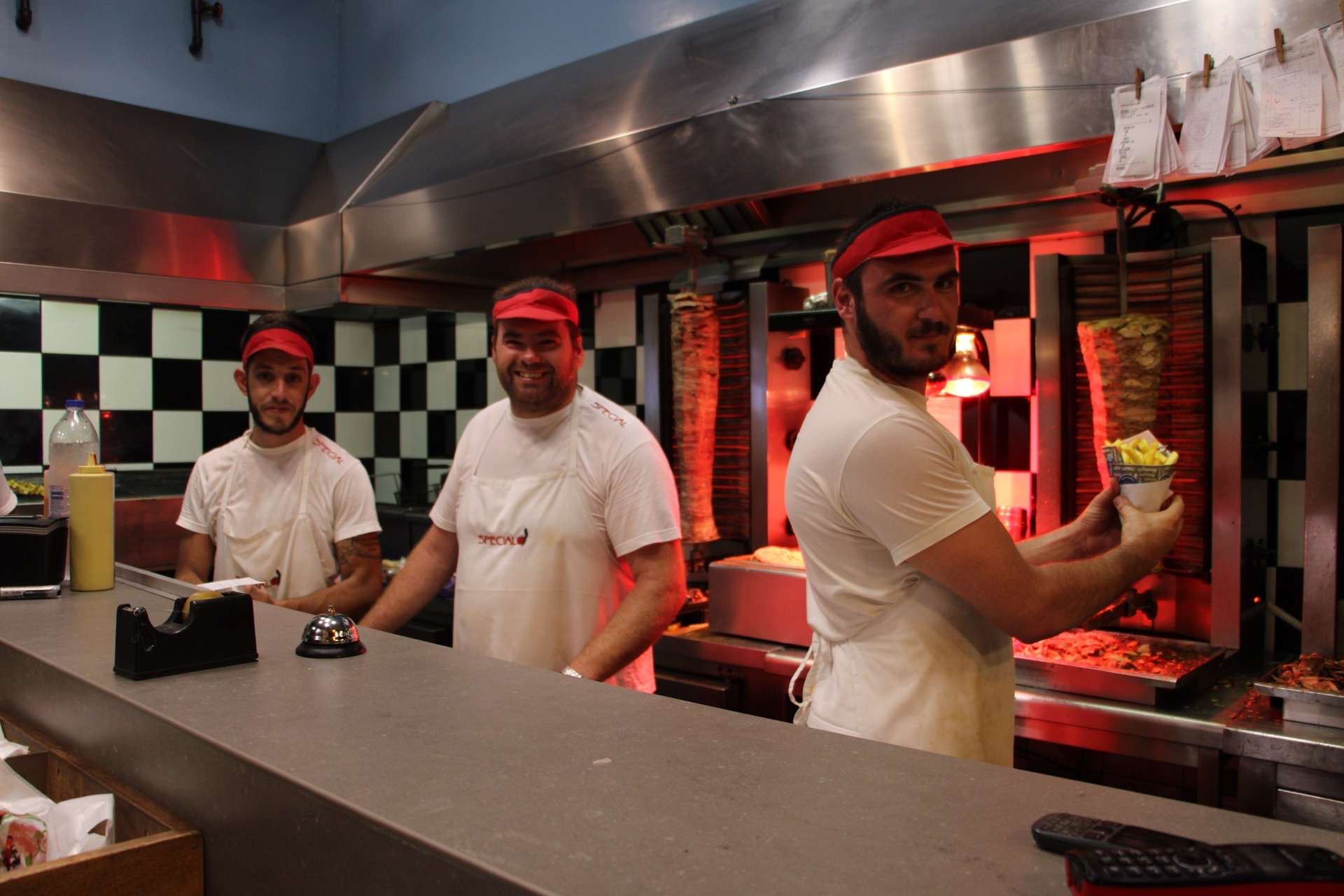 The talented grill-masters at Special Restaurant in Ierapetra, Crete.