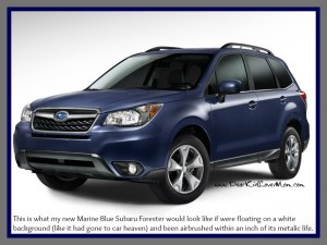 This is the new car. Or would be if my Subaru Forester floated on a white background