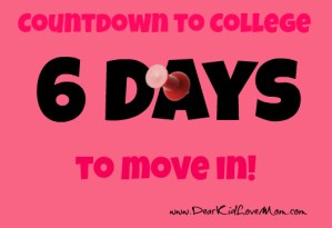 Countdown to college dorm move in 6 days to go