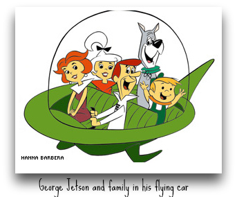 George Jetson and Family in Flying Car DearKidLoveMom.com