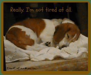 I'm not tired. Really. DearKidLoveMom.com