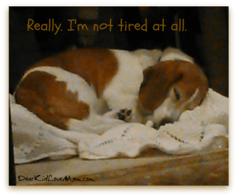 I'm not tired. Really. DearKidLoveMom.com