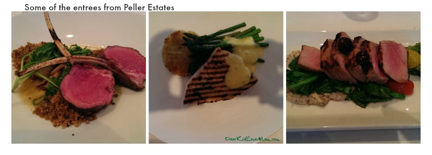 Some of the Entrees at Peller Estates Niagara on the Lake Cananda DearKidLoveMom.com