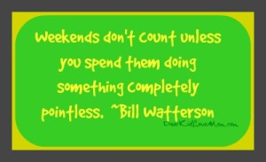 Weekends don't count unless you spend them doing something completely pointless. DearKidLoveMom.com