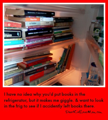 Why would you put books in the refrigerator? No idea but I still love it. DearKidLoveMom.com