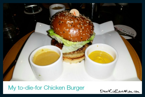 To die for Chicken Burger at Gordon Ramsey's BURGR. DearKidLoveMom.com