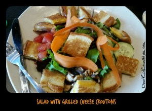 Salad with grilled cheese croutons at Tom + Chee. DearKidLoveMom