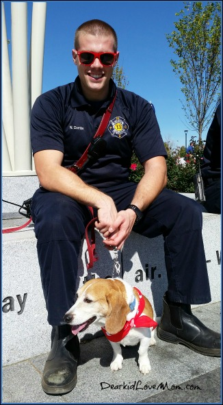 Puppy and Firefighter at Paws In the Park, Summit Park, Blue Ash. DearKidLoveMom.com