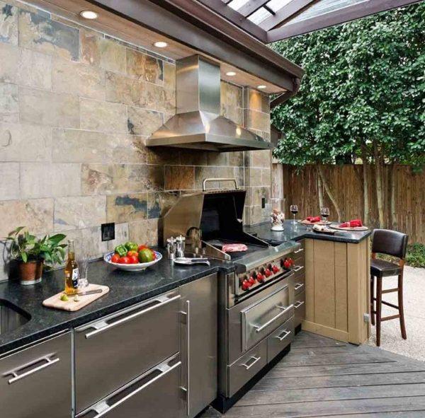 Trendige Outdoor Küche im Garten einrichten-Ideen für den Außenbereich - kuche im garten balkon grill