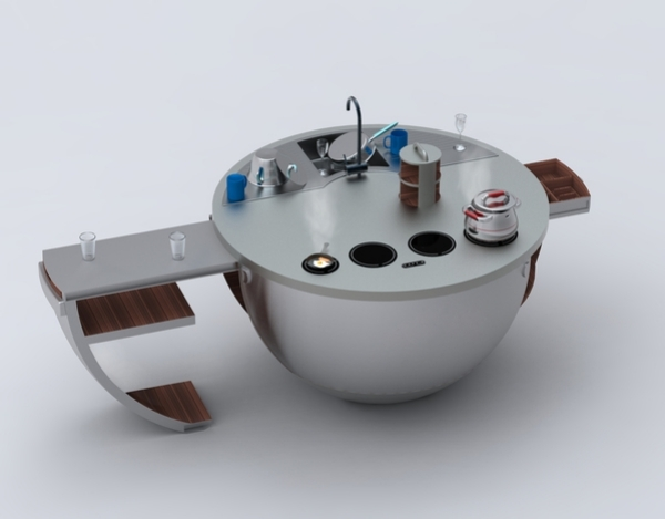 Mini Küche mit futuristischem Design -  - kompaktes minikueche design konzept