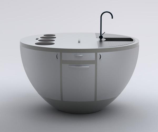 ... Mini Küche Mit Futuristischem Design     Kompaktes Minikueche Design  Konzept ...