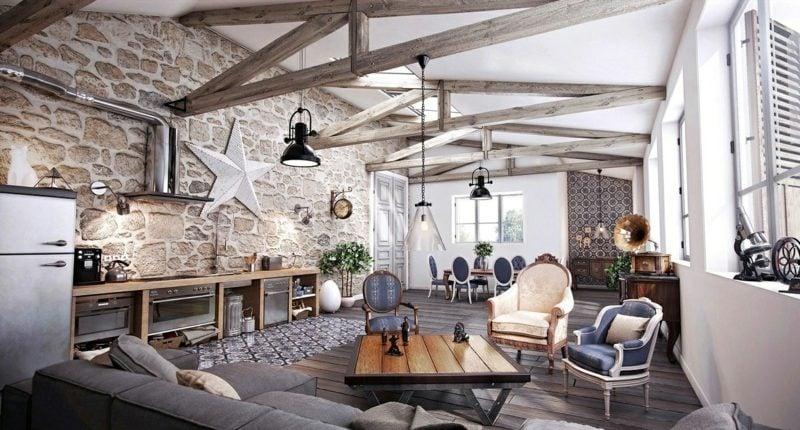 Wohnzimmer im Landhausstil - Rustikale Einrichtung Ideen - inneneinrichtungsideen wohnzimmer kuche