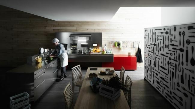 Glamouröse Italienische Küchen Kombinieren Glas, Holz Und Edelstahl   Kuchen  Mobel Italien