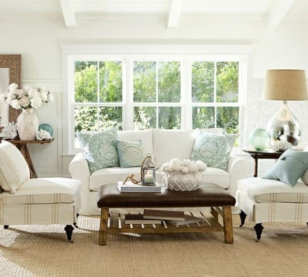 Wohnzimmer-Mediterran-einrichten-Sommer-Deko-Ideen-blau-weißjpg - wohnzimmer design weiss