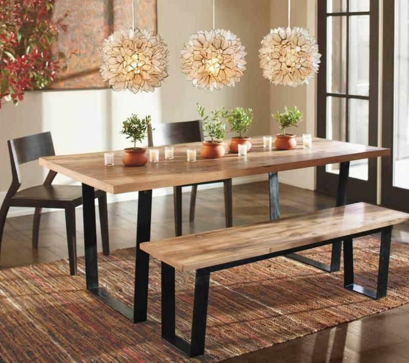Esszimmer mit Bank einrichten und mehr Sitzplätze am Tisch schaffen - esszimmer aus holz