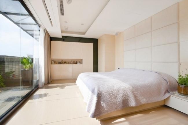 25 Ideen für attraktive Wandgestaltung hinter dem Bett - schlafzimmer creme wei