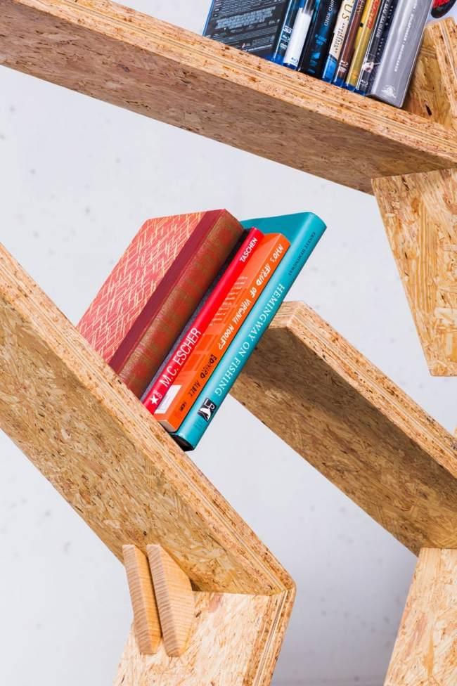 Designer Bücherregal Aus OSB Platten Mit Asymmetrischer Form   Designer  Bucherregal Osb Platten