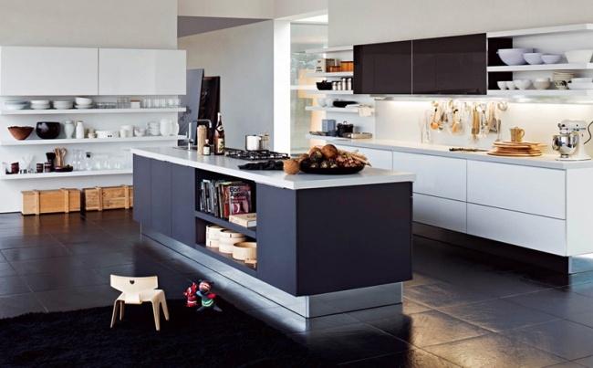 Küche mit Kochinsel in funktionellem und modernem Design - moderne kuche praktische kuchengerate
