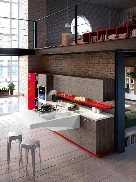 ... Kompakte Küche Von Snaidero   Spüle, Koch  Und Essplatz Auf Dem Board    Snaidero ...