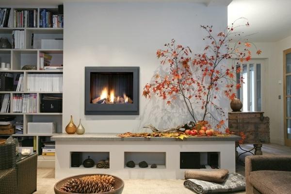Das moderne Kamin Design bietet attraktives Flammenbild - bucherregal designs akzent interieur