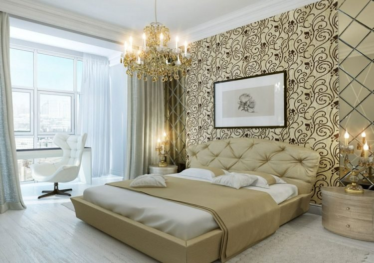 Tapeten im Schlafzimmer - 26 Wohnideen für Akzentwand - schlafzimmer creme wei