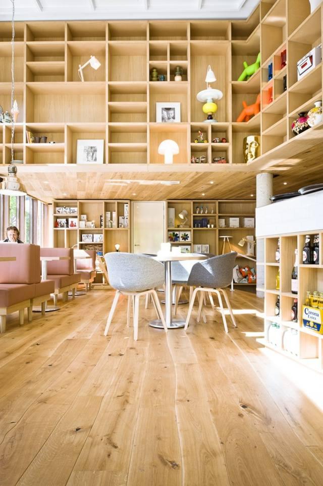 Massivholz-Dielenboden-Eiche-Parkett-Design-unbehandelt-Wohnzimmer - wohnzimmer ideen parkett