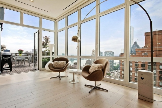 Spectacular Views And Urbane Style Shape Gorgeous New York City - interieur design moderner wohnung urbanen stil