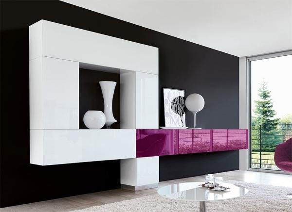 Wohnzimmergestaltung-wohnwand-design-modern-weiß-violett-strahlend - wohnzimmergestaltung
