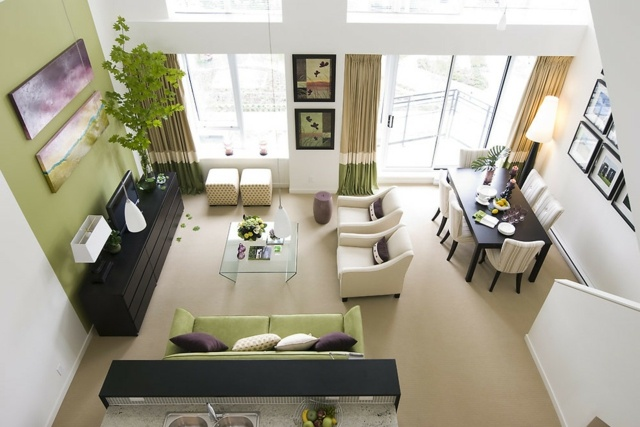 Wohnzimmer Farbgestaltung u2013 28 Ideen in Grün - wohnzimmer bilder grun