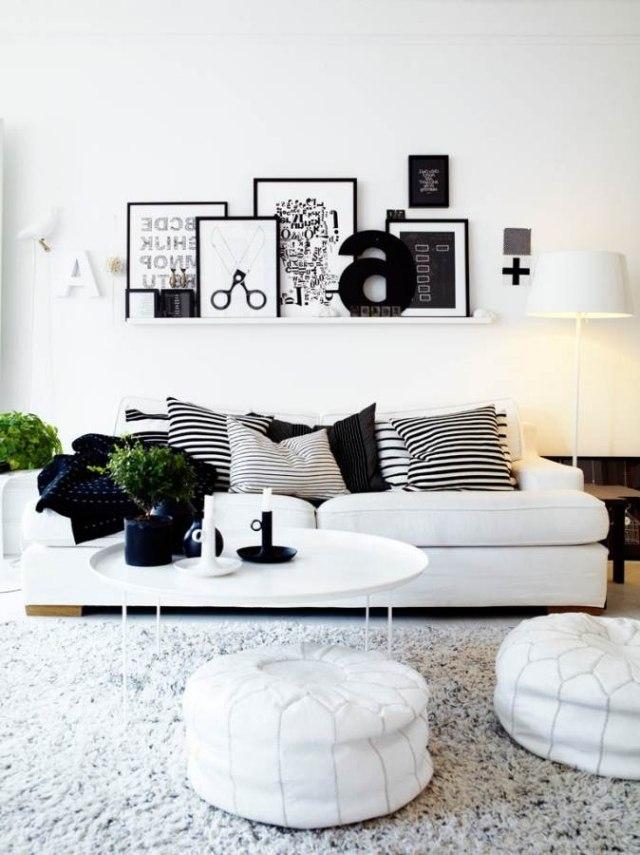 Wohnzimmer einrichten Ideen in Weiß, Schwarz und Grau - wohnzimmer ideen schwarz weiss grau