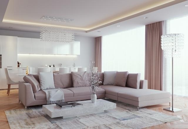 Ideen zum Wohnzimmer einrichten in neutralen Farben - inneneinrichtungsideen wohnzimmer kuche