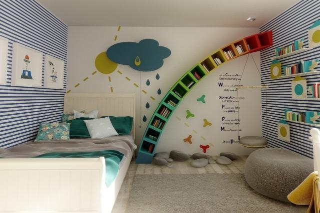 kinderzimmerwande-gestalten-ideen-jungs-regenbogen-regale-streifen - wnde kinderzimmer