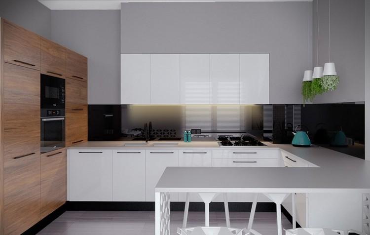 Küche Wandgestaltung - Farbiger Glas Spritzschutz - kuchenwandgestaltung ideen fliesen glas