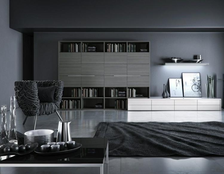 Wohnzimmer einrichten Ideen in Weiß, Schwarz und Grau - schwarz im esszimmer ideen einrichtung