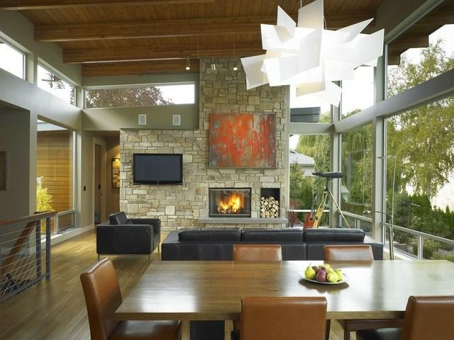34 Ideen für Kamin und Fernseher an einer Wand - steinwand wohnzimmer fernseher